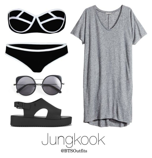 """""""Water Park with Jungkook"""" by btsoutfits ❤ liked on Polyvore featuring H&M, Melissa and Wood Wood"""