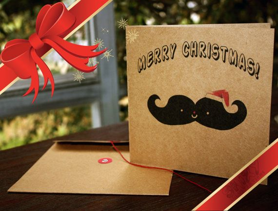 Merry Christmas Moustache Kraft Christmas Card by Enixy on Etsy