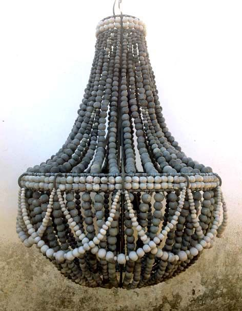 Restoration Hardware Sample... Hellooow Handmade chandeliers are off to the USA! This is our FRILL design in charcoal beads with pale grey belly bands and side swags...