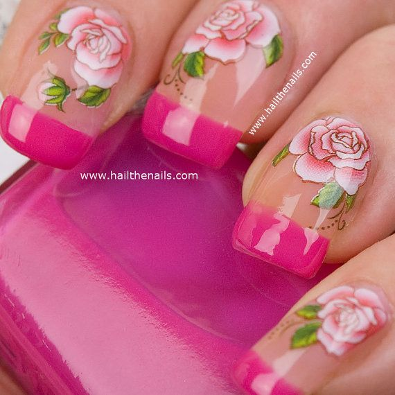Red Rose Nail Art Water Transfer Decal YD103 by Hailthenails, £1.99
