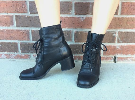 207120121351d vtg 90s Black Leather BOHO Lace Up ANKLE BOOTS heels 8.5 preppy ...