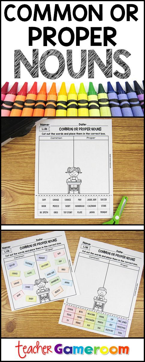 Cut and Paste Common and Proper Nouns activity for 1st grade #iteachtoo