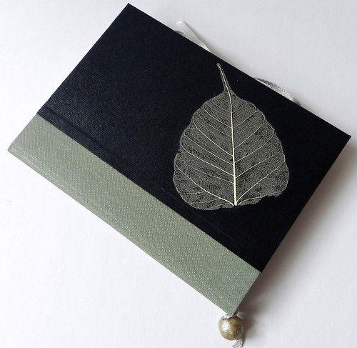 Handmade notebook Material: paper, canvas, leaf skelet
