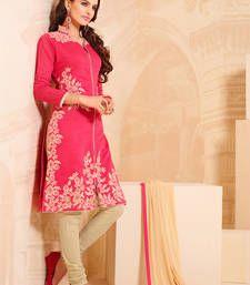 Buy Peach cotton embroidered semi stitiched salwar with dupatta party-wear-salwar-kameez online