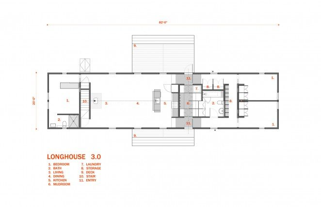 Longhouse floor plans 3 bedroom architect designed plan for Modern long house plans