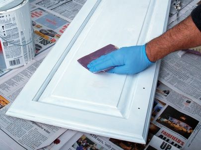 JProvey How To Paint Kitchen Cabinets.. great pin, recommends a good latex paint to get enamel look