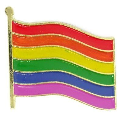 Gay Pride Rainbow Flag Awareness Lapel or Hat Pin by Pinmart. $4.99. Clutch back for attaching to clothing.. Die struck gold plated brass.. Large pin design at 7/8 inch long.. 3/4 x 7/8 inch. Rainbow Gay Pride Flag Pin. Six bright colors with hand applied enamel color fills and gold plating. Each pin includes a clutch back and is individually poly bagged.