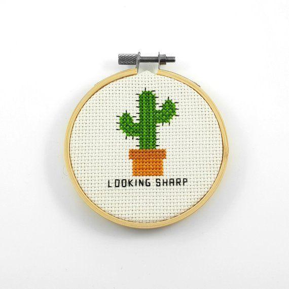 Looking sharp cross stitch pattern, cactus cross stitch