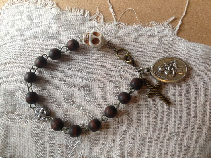 Papa Ghede/ St Gerard bracelet made from an old rosary with St Gerard catholic medal