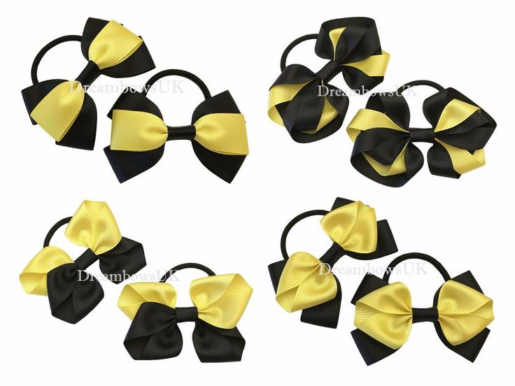 Black and yellow hair bows, girls school bows, thick hair bobbles/elastics/ties #DreambowsUK