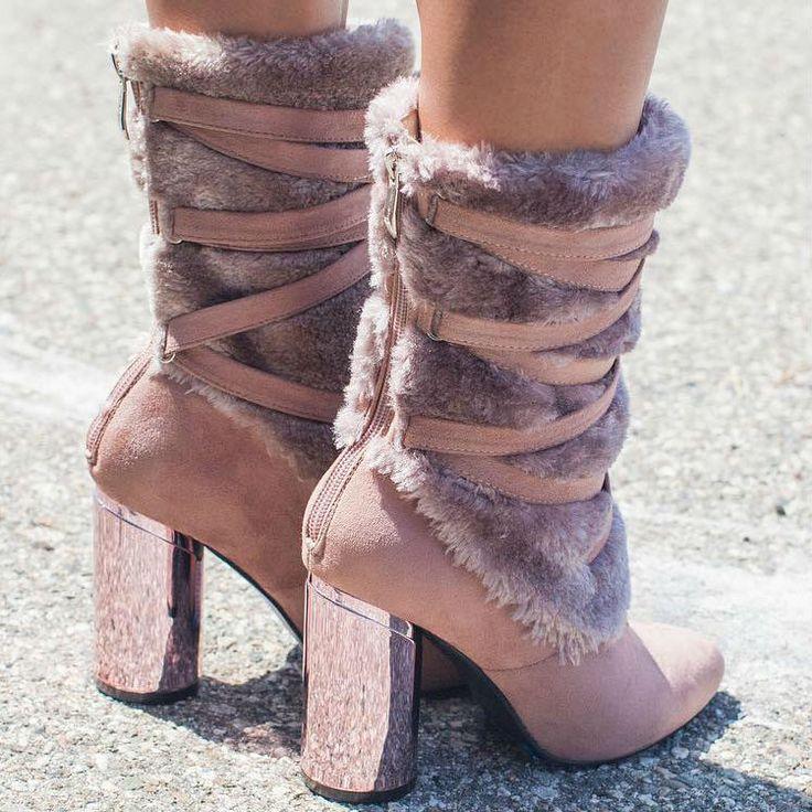 Rose Fur Booties