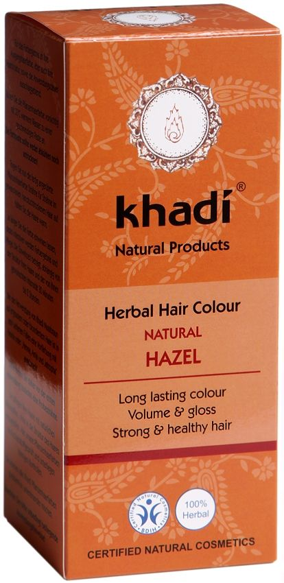 Khadi Herbal Hair Colour Natural Hazel colours hair a dark brown without any redness. The Khadi natural hair colours give long lasting colour, volume and gloss to your hair. Your hair will feel strong and healthy. BDIH Certified. Vegan.