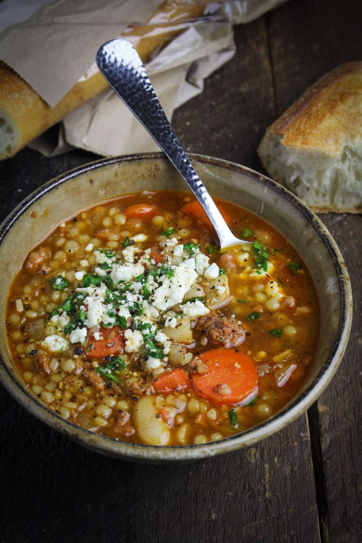 Spicy Chorizo Soup with Italian Couscous and Mole Sauce | {Katie at the Kitchen Door}