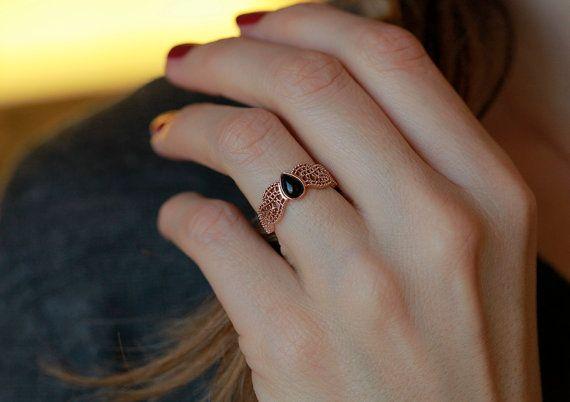 Oro rosa oro rosa pizzo anello, anello di onice nero, anello di onice oro, anello in filigrana d