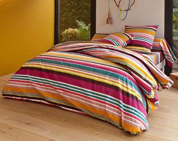 parure de lit rayures multicolores - 2 ou 3 pièces - Becquet