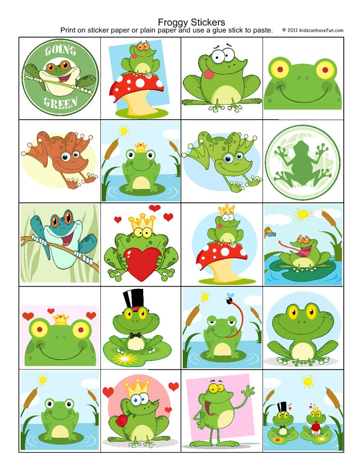 Froggy Stickers http://www.kidscanhavefun.com/sticker-sheets.htm #stickers #freebies