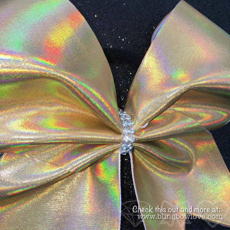 Holographic Gold Cheer Bow