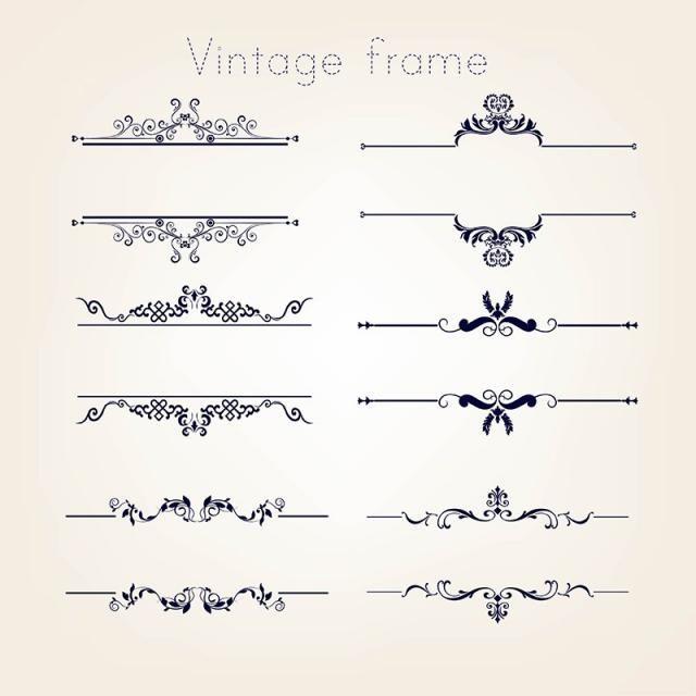 Frame Vintage Ornament Line Borders Decoration Set Decorate Vintage Borders Clip Art Borders Vintage