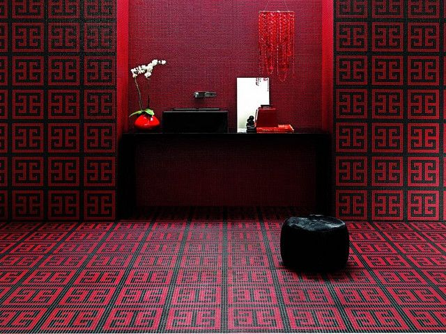 Red And Black Mosaic Bathroom Floor #Decor Nice Ideas