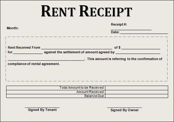 Free Rent Receipt Template Recommended Rent Receipt Template 13
