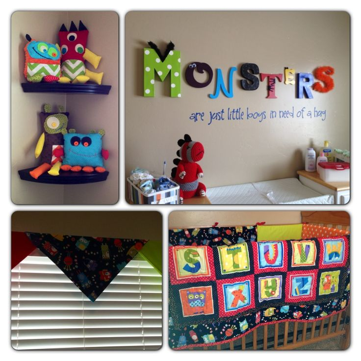 "Monster nursery - I like the way the word ""monsters"" is posted. Thinking of opting for our baby's name instead."