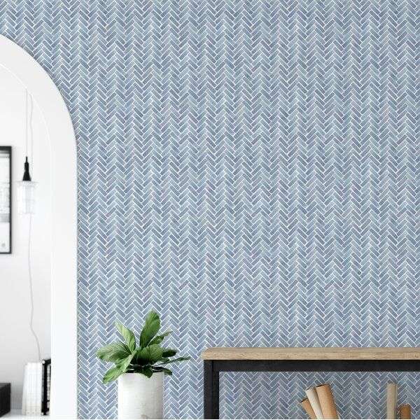 Magellan Watercolor Herringbone Paintable Peel And Stick Wallpaper Panel In 2020 Bedroom Wallpaper Accent Wall Blue And White Wallpaper Accent Wallpaper