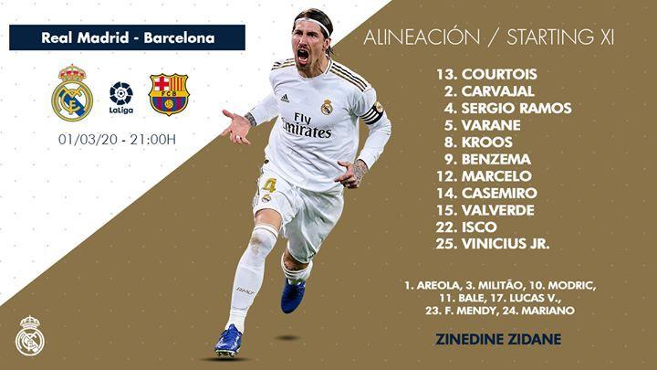 Breaking Starting Line Up Real Madrid Vs Barcelona Elclasico Real Madrid And Barcelona Real Madrid Isco