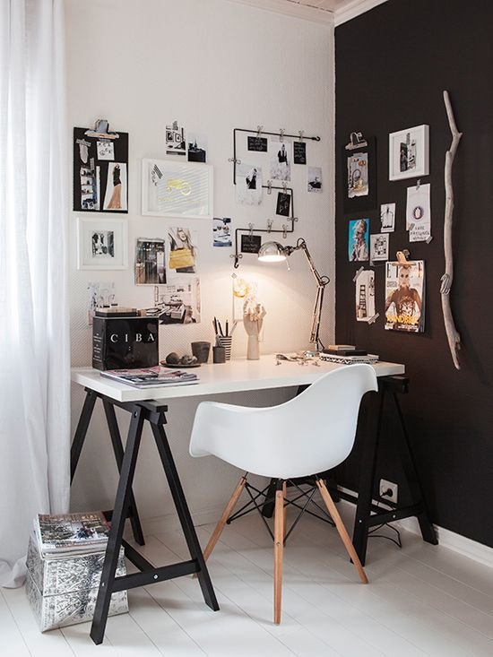 50 Stylish Scandinavian Home Office Designs | DigsDigs Wall art; wall color