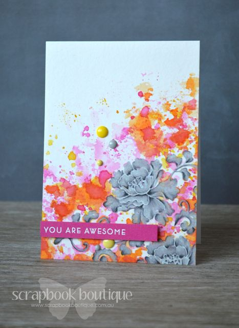 Lostinpaper Altenew -Lacy Scrolls - Masking & Smooshing Awesome card (video)