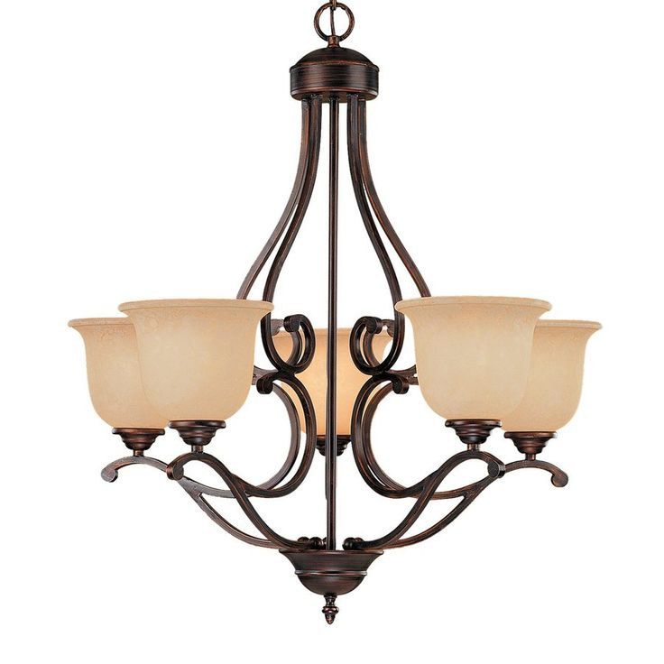 Millennium Lighting Courtney Lakes 27-in 5-Light Rubbed Bronze Scavo Glass Shaded Chandelier