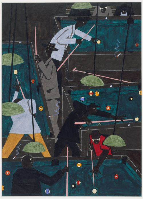 Painting by ~ Jacob Lawrence http://www.metmuseum.org/works_of_art/collection_database/all/pool_parlor_jacob_lawrence/objectview_enlarge.aspx?page=152=0=asc=watercolor=151=0=0=1=0=210008264=1