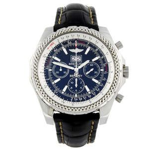 LOT:18   BREITLING - a gentleman's stainless steel Breitling For Bentley 6.75 chronograph wrist watch.