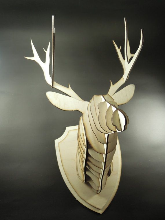 Painted Wood Slices Stag