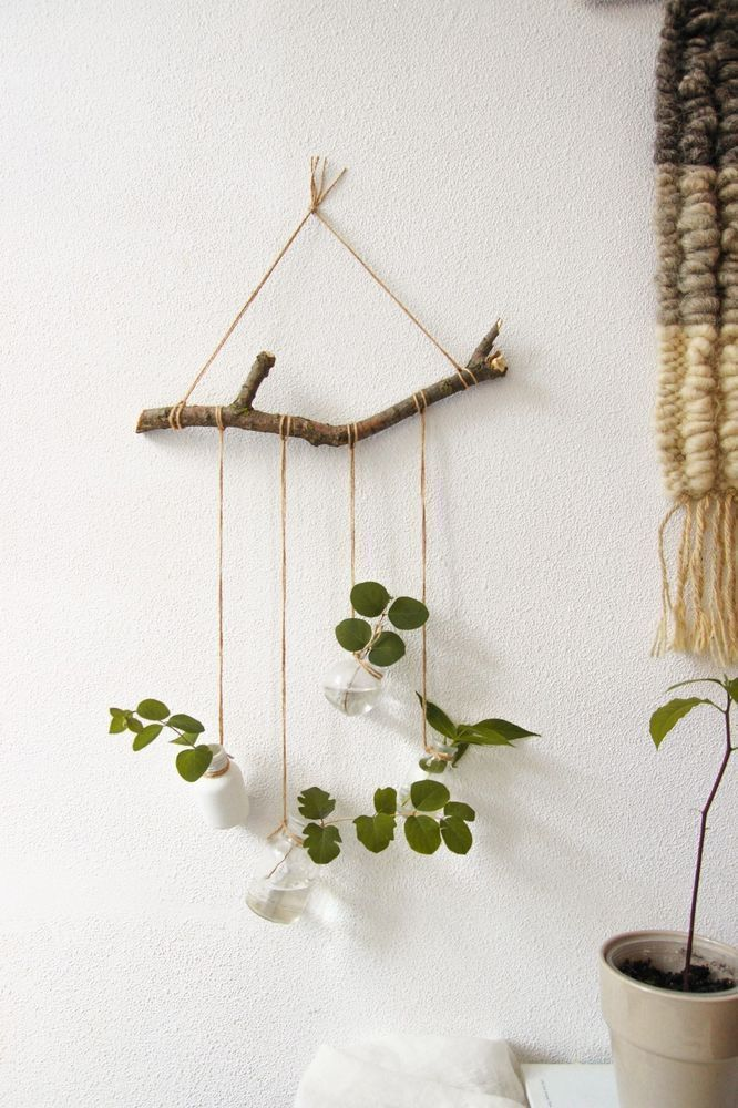 Rustic Hanging Shelves Decorative Wall Shelf for Flowers Plant Wall Decor # Three