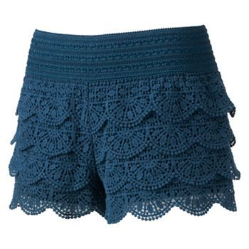 Rewind Crochet Lace Shortie Shorts - Juniors khols