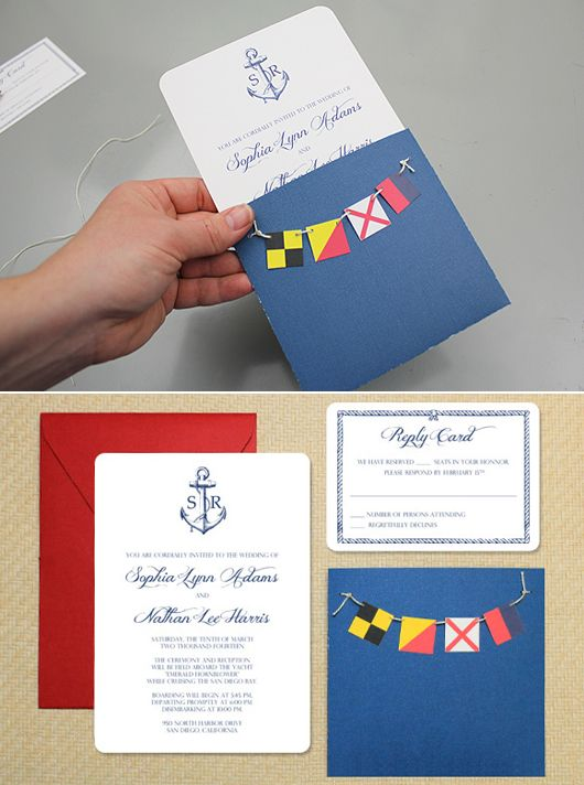 Free Invitation Template: Nautical Invitation with Bunting. The bunting spells L-O-V-E in maritime signals. So cute!