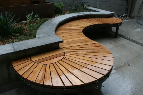 Garden bench like the curved nature if this design , not so much the clean lines but more the unusual shapes and flow