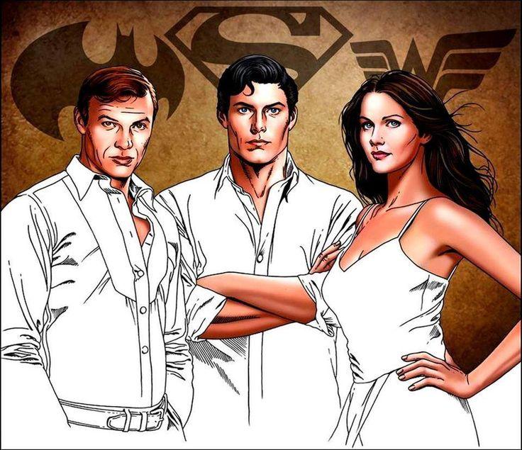 """""""Adam West, Christopher Reeve y Lynda Carter o lo que es lo mismo: Batman, Superman y Wonder Woman  ¡Buenas noches! ♥"""""""