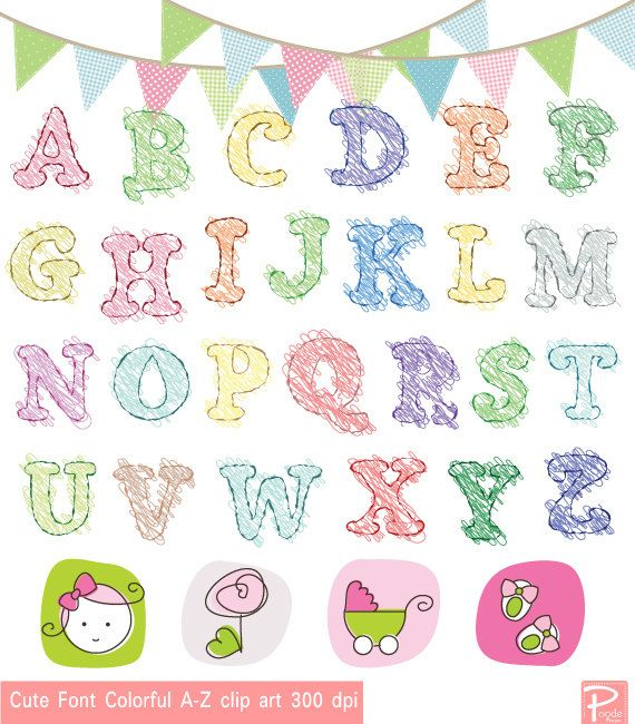 Cute Alphabet Colorful AZ clipart Commercial Use by ... Cute Alphabets