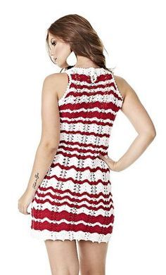 Receitas Círculo - Vestido Chevron Vermelho e Branco
