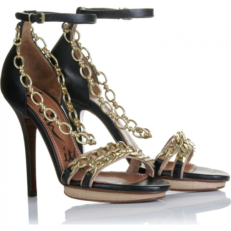 SANDAL WITH ANKLE CHAIN: Shoeaddict, Chains 431, Dreams Shoes, Lanvin Sandals, Chains Gang, Beautiful Shoes,  Saxophones, Shoes Addiction, Ankle Chains
