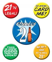 Each set of 21st Birthday Party Buttons includes 1 - 2 1/3 inch button and 4 - 1 1/3 inch buttons. 21st birthday Flare...gotta have it!