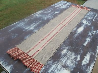 "36 "" Country French Burlap Table Runner with Red Check Homespun"