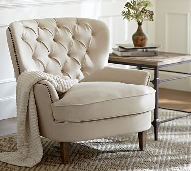 Cardiff Tufted Upholstered Armchair #potterybarn (perennials perfermance basketweave, oatmeal for nurse)