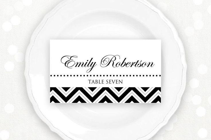 Printable Place Card Wedding Black Chevron Instant Download Editable DIY Template PDF 3.5 x 2 PlaceCard, Escort Cards, Tent Cards, Name Tags