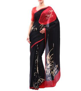 Black & Red Georgette Satin Saree