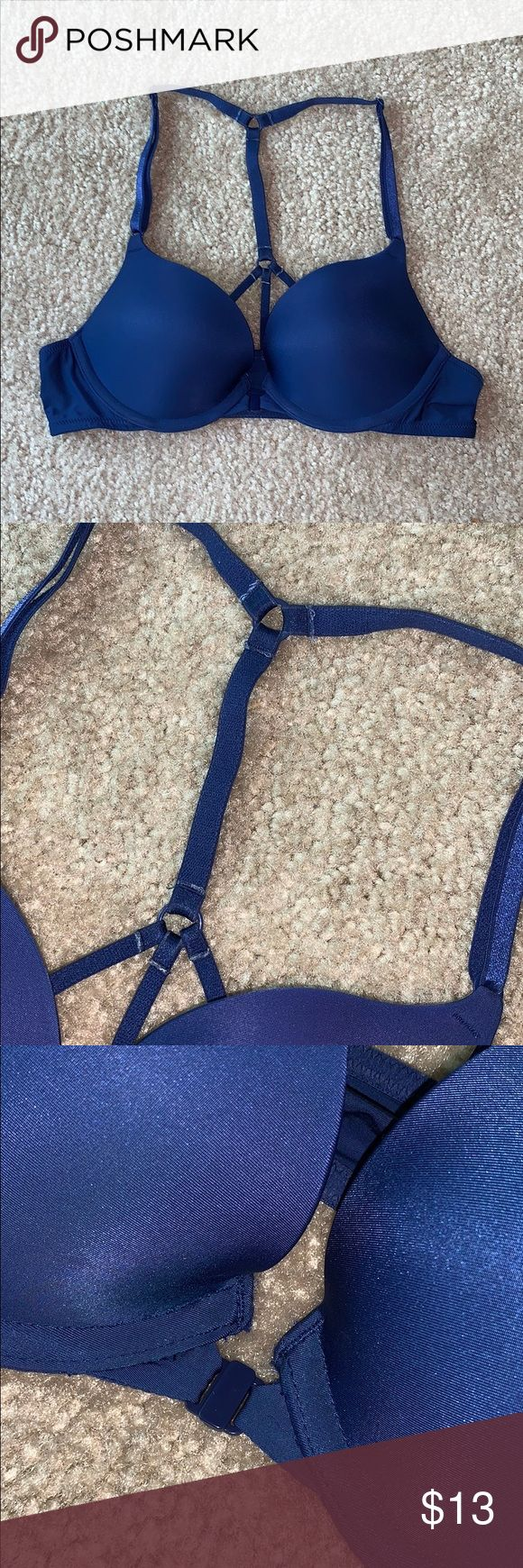 Victoria Secret Bra. Really cute bright blue push up bra with fun back straps. I…