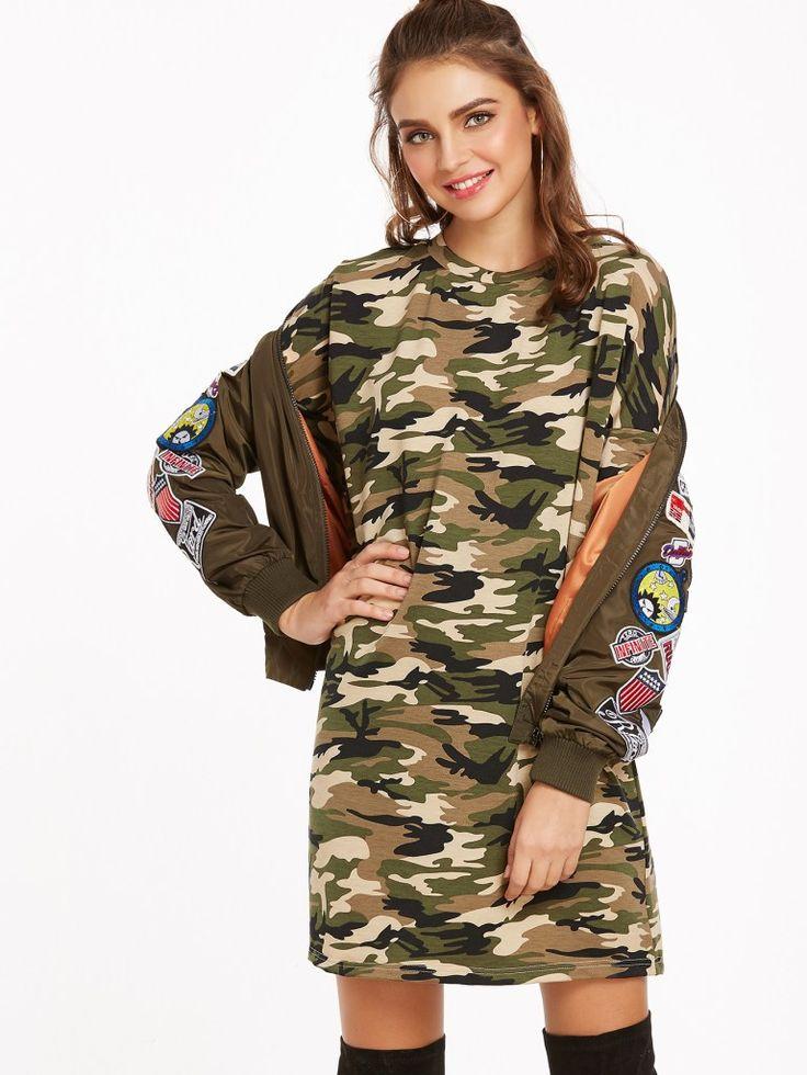 Camouflage Print 3/4 sleeve Tee Dress