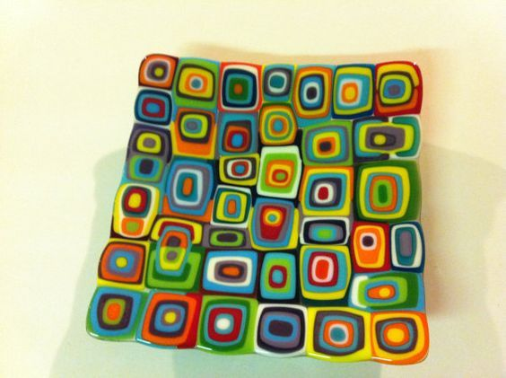 Multi coloured handmade fused glass by FunkyFusedGlass on Etsy, $80.00