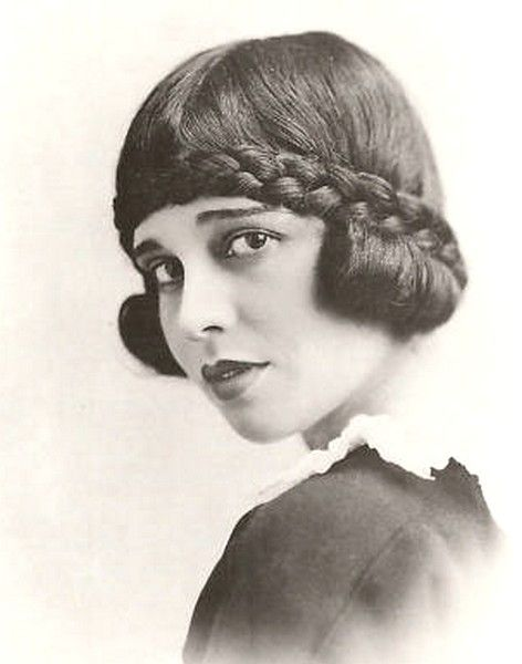 """Anita Loos 1920s bob with braid. I was just thinking that braids are really popular this summer, so I googled """"Vintage Braids"""" and discovered this unusual hairdo."""